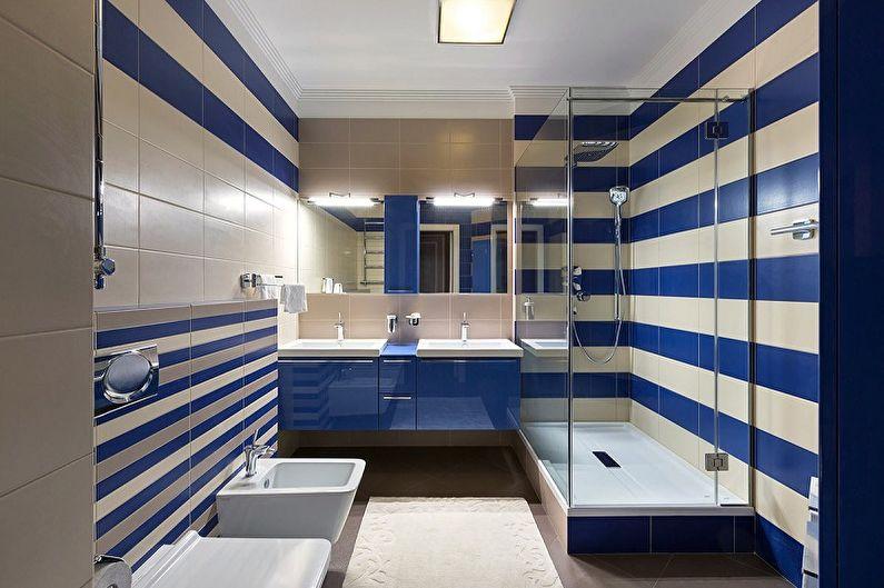 Маленькая синяя ванная комната - Дизайн интерьера