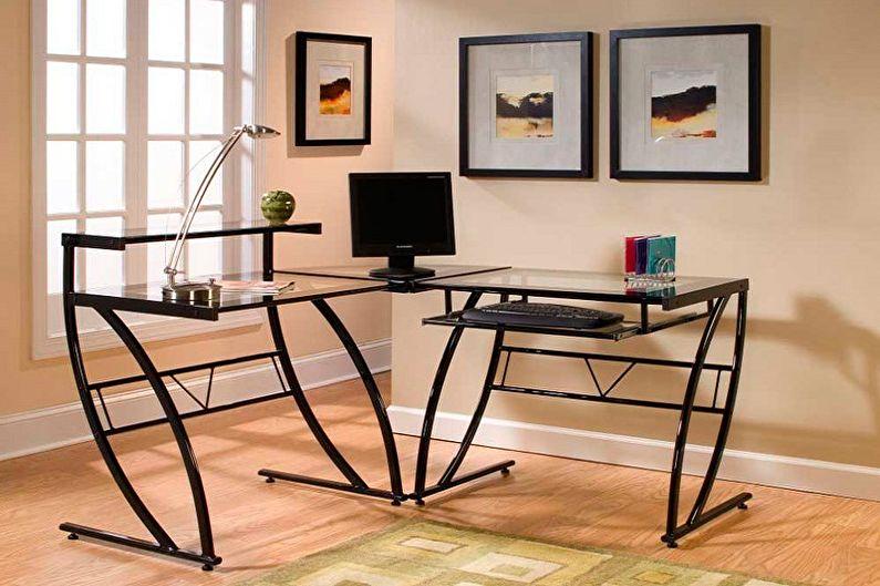 Угловой компьютерный стол из металла