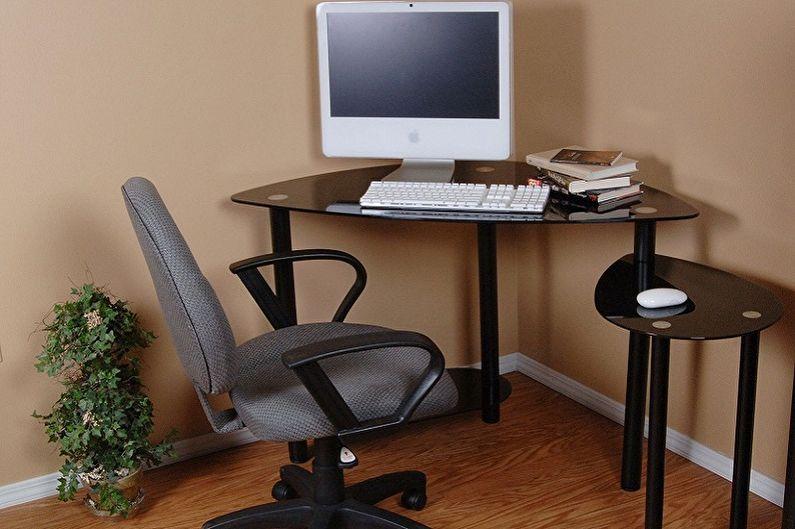 Угловой компьютерный стол из стекла