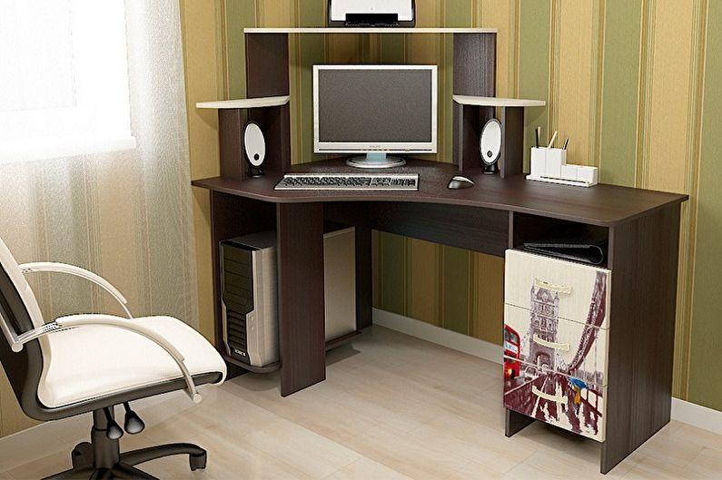 Угловой компьютерный стол из МДФ