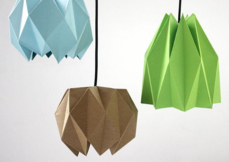 Плафоны для люстр из бумаги - Оригами-плафоны