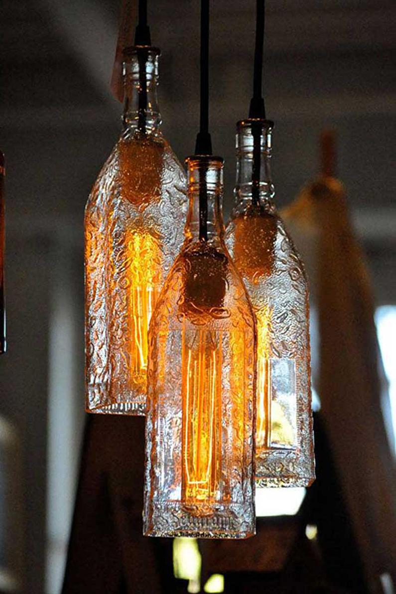 Плафоны для люстр из бутылок - Стеклянные бутылки или банки