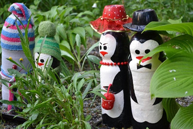 Украшения для сада из пластиковых бутылок своими руками