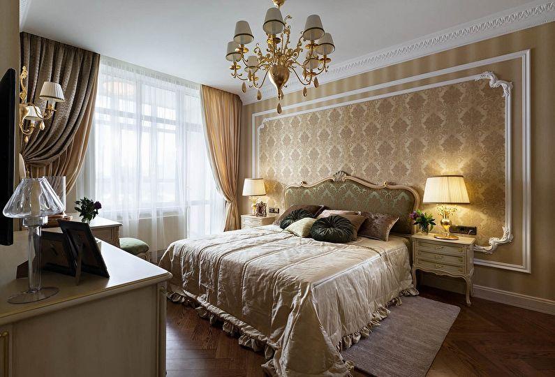 оформление стен в классической спальне фото
