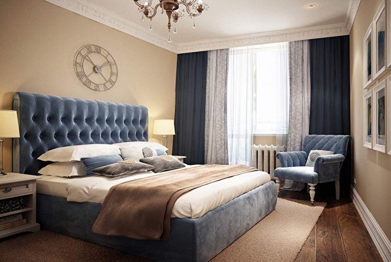 Бежевая спальня в классическом стиле - Дизайн интерьера