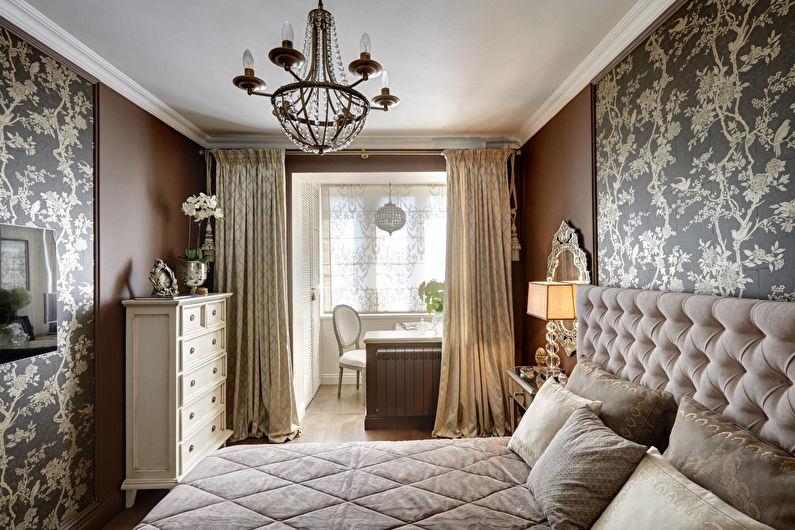 Коричневая спальня в классическом стиле - Дизайн интерьера