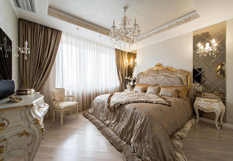 Классическая спальня в золотом цвете - Дизайн интерьера