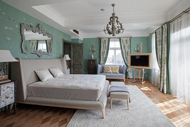 Дизайн спальни в классическом стиле - Отделка стен