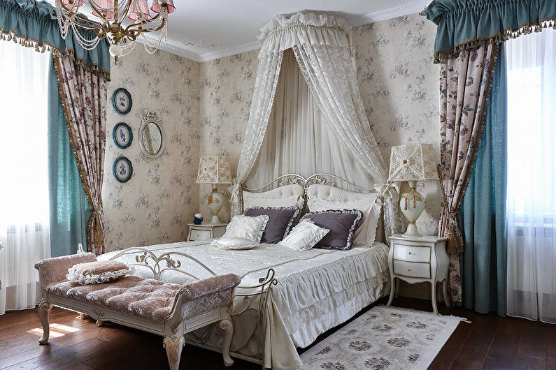Дизайн спальни в классическом стиле - Текстиль и декор