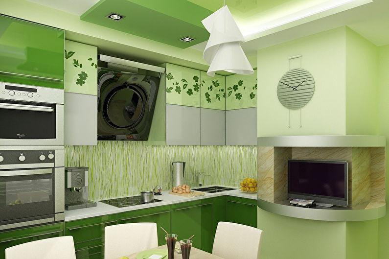 это дизайн проекты кухни в зеленом цвете фото подсветкой покрытия хорошо