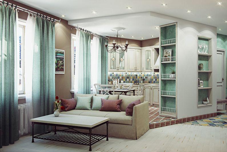 Зонирование кухни-гостиной - Подиум