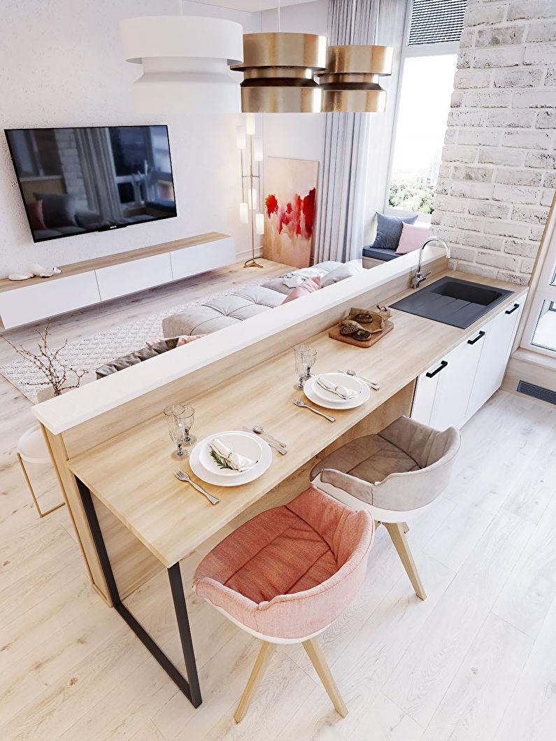 Зонирование кухни-гостиной - Мебель