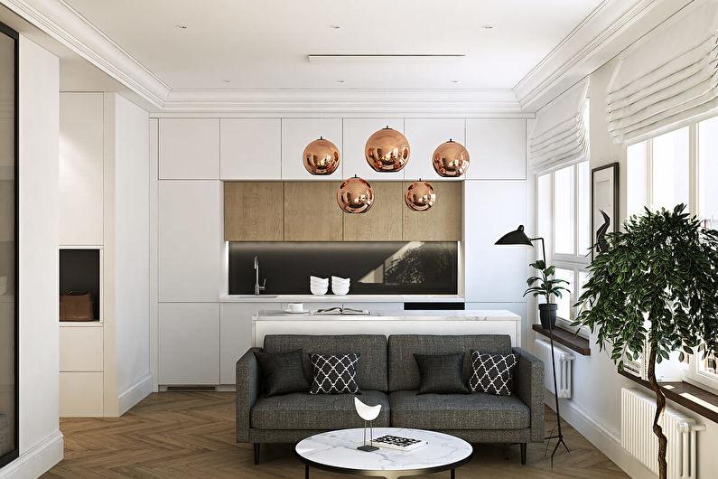 Дизайн кухни-гостиной в маленькой квартире - Цвета