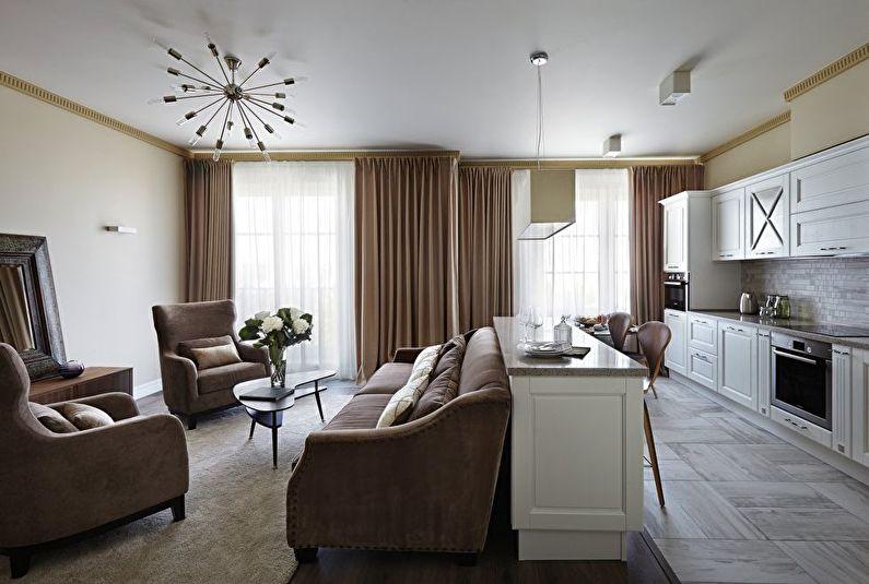 Кухня-гостиная в классическом стиле - Дизайн интерьера