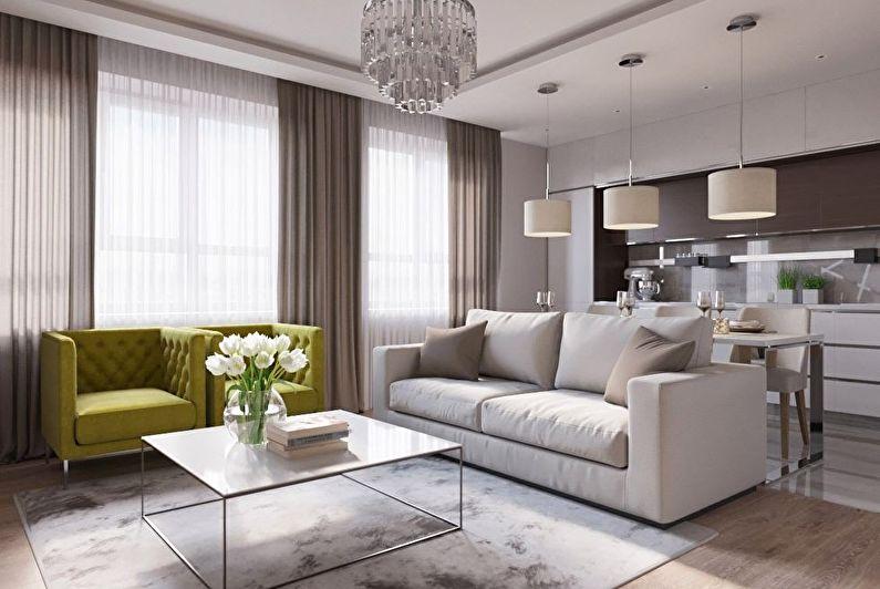 Кухня-гостиная в современном стиле - Дизайн интерьера