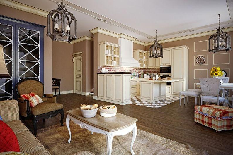 Кухня-гостиная в стиле прованс - Дизайн интерьера