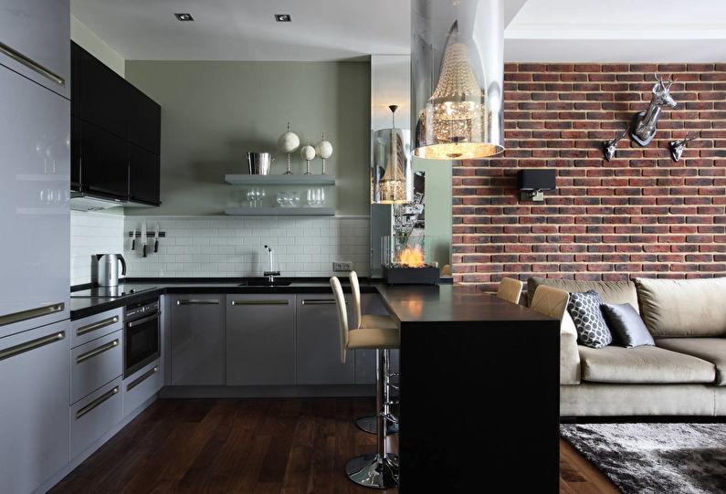 Кухня-гостиная в стиле лофт - Дизайн интерьера