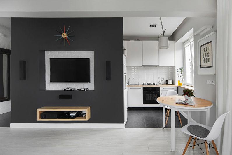 Дизайн интерьера кухни-гостиной в хрущевке - фото