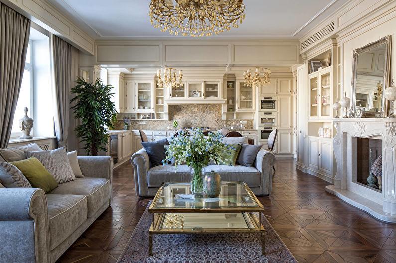 Дизайн интерьера кухни-гостиной в классическом стиле - фото