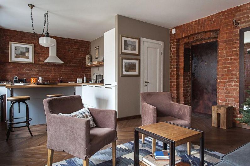 Дизайн интерьера кухни-гостиной - фото