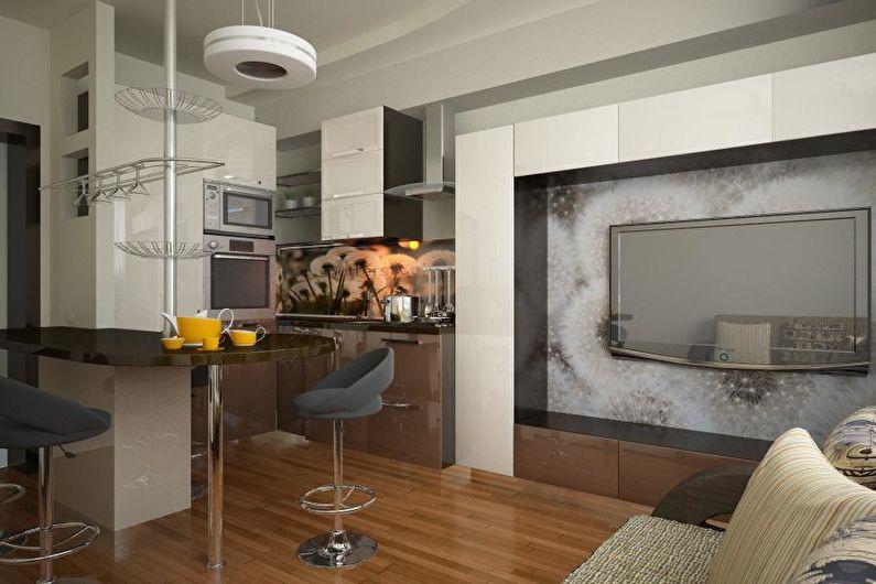 Дизайн интерьера кухни-гостиной в квартире - фото