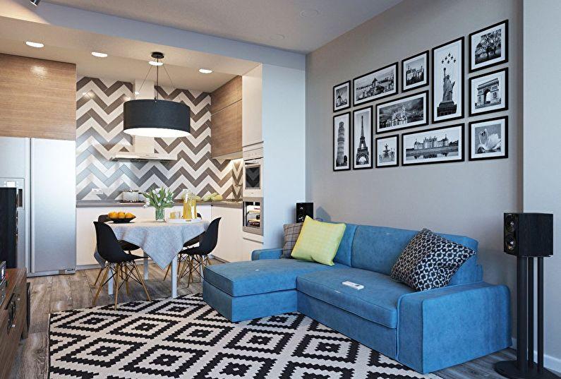 Дизайн интерьера маленькой кухни-гостиной в современном стиле - фото