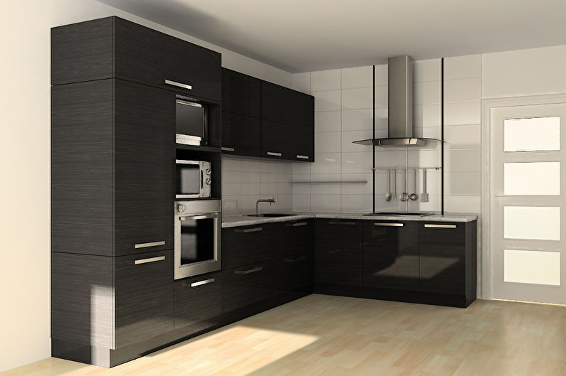 Угловые встроенные кухни - фото, дизайн интерьера