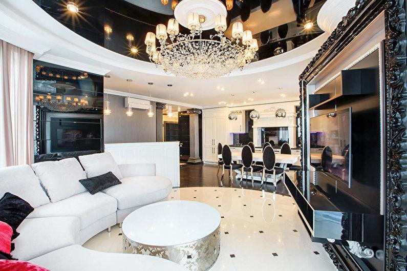 Дизайн интерьера гостиной в черно-белых тонах - фото