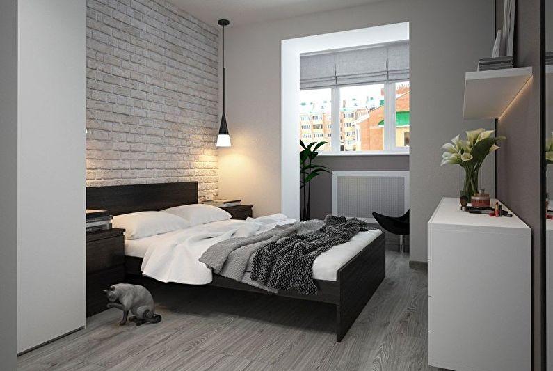 Дизайн интерьера спальни в черно-белых тонах - фото