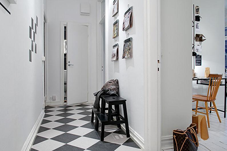 Дизайн интерьера прихожей, коридора в черно-белых тонах - фото