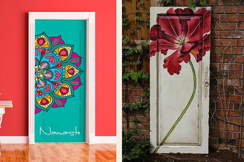 Декор старых дверей своими руками - Рисунки и наклейки