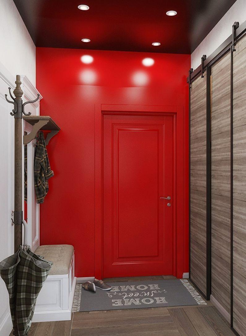 Красная прихожая в хрущевке - Дизайн интерьера