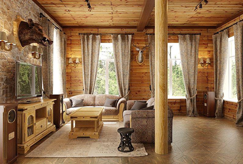 Шторы для гостиной в стиле шале