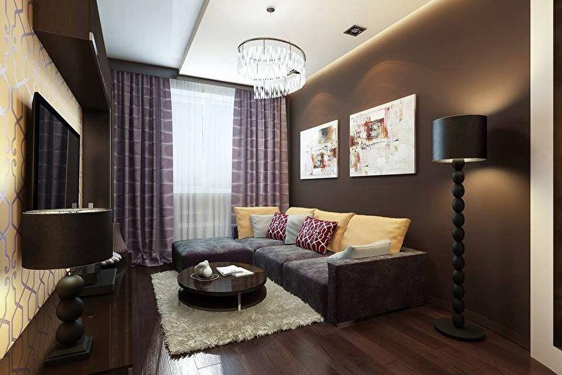 Шторы для маленькой гостиной - Избегать крупных рисунков