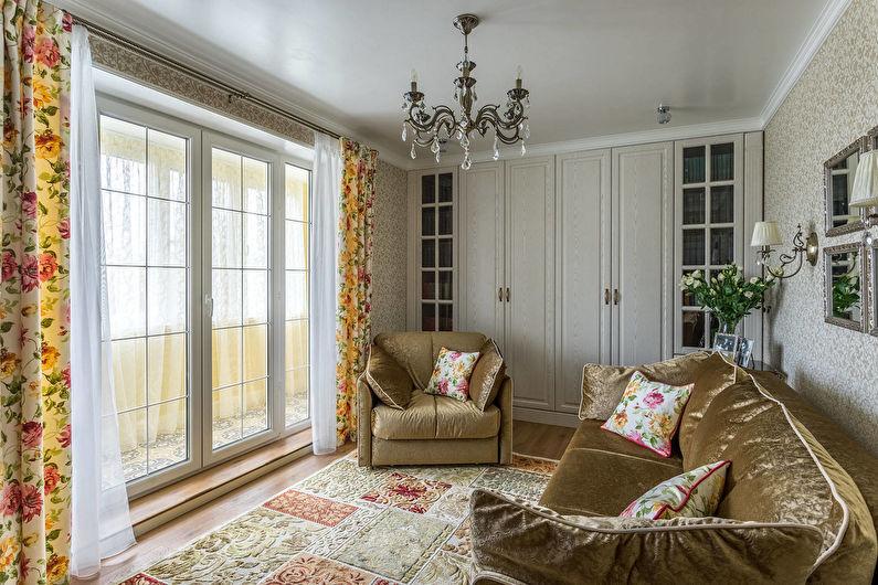 Шторы с рисунком для гостиной (зала) в классическом стиле - фото