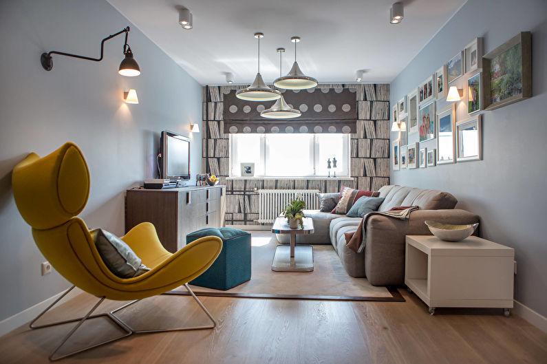 Шторы для маленькой гостиной (зала) в современном стиле - фото