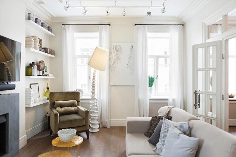 Белые шторы для гостиной (зала) - фото