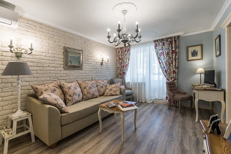 Шторы с рисунком для гостиной (зала) в стиле прованс - фото