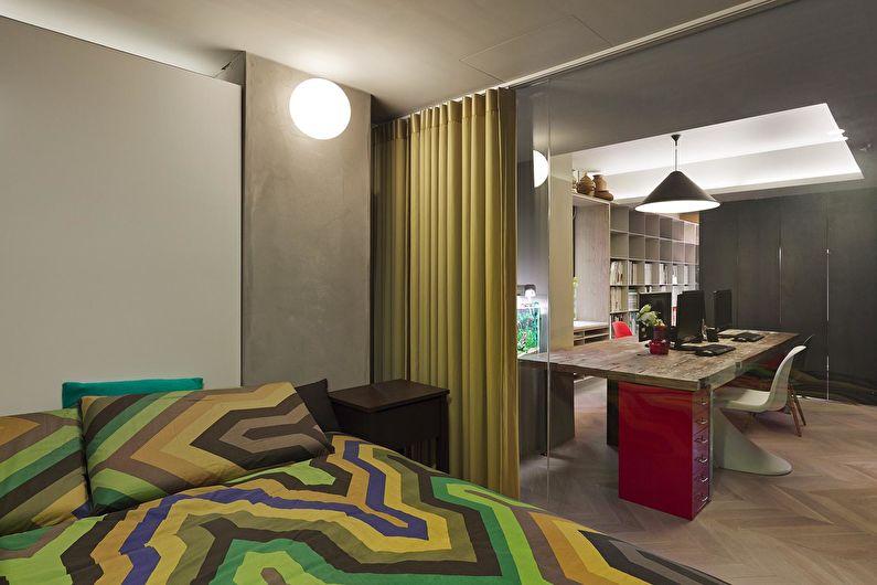 Зонирование однокомнатной квартиры - Шторы и занавески