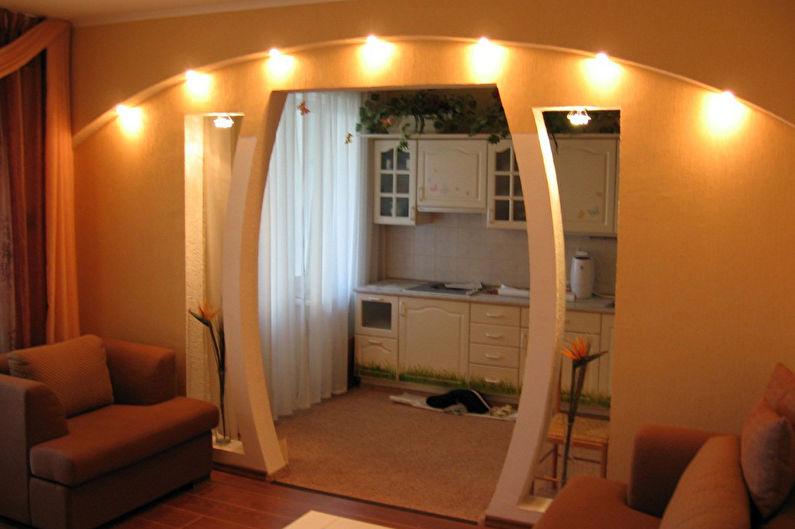 Зонирование однокомнатной квартиры - Перегородки из гипсокартона