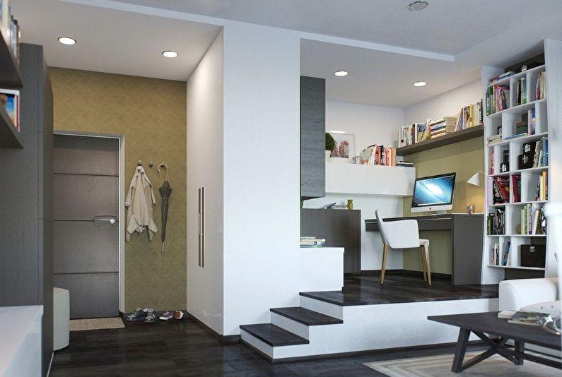 Зонирование однокомнатной квартиры - Подиумы