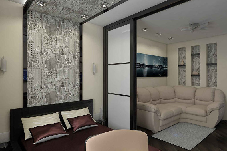 Зонирование однокомнатной квартиры - Раздвижные перегородки
