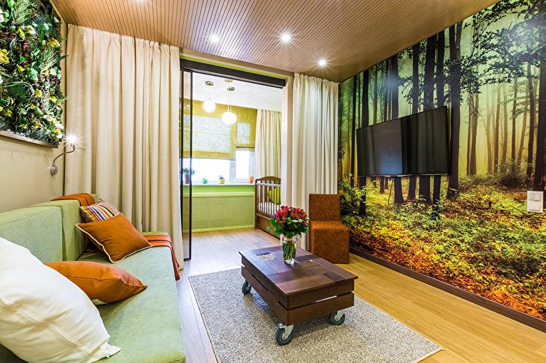 Зонирование детской и гостиной в однокомнатной квартире