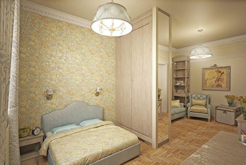 Зонирование спальни и гостиной в однокомнатной квартире