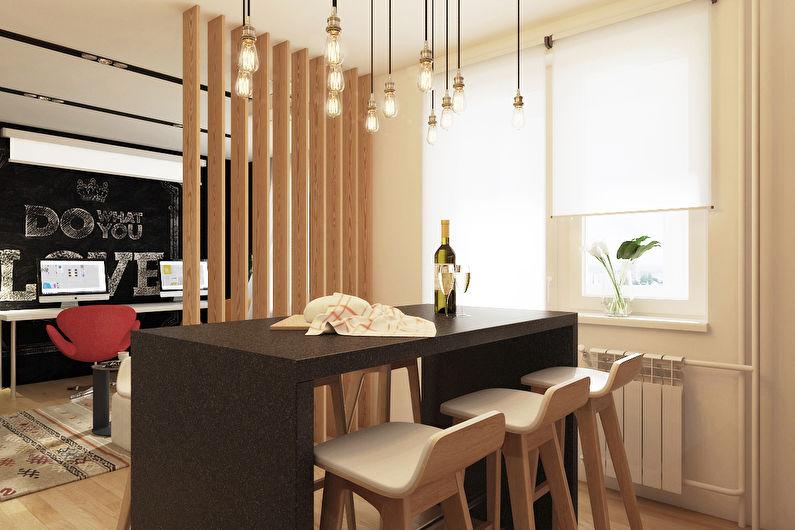 Деревянная эстетика в Москве - Зонирование однокомнатной квартиры