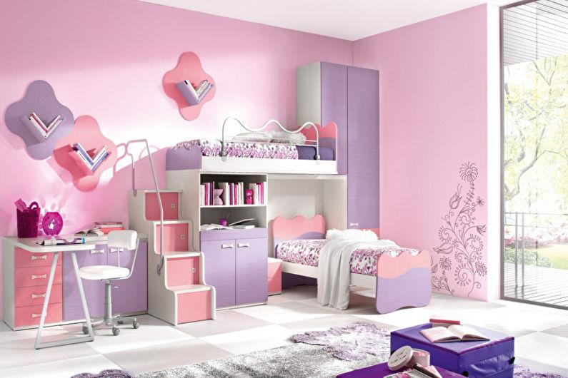Розовые обои для детской комнаты