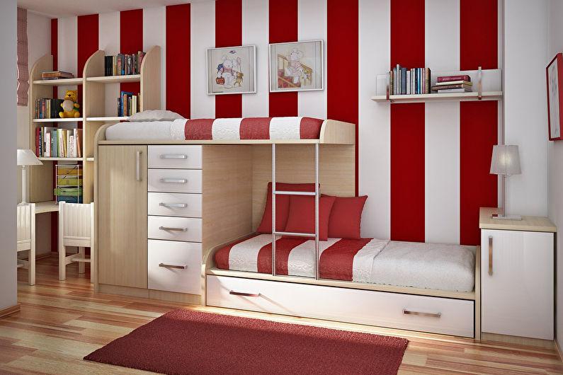 Красные обои для детской комнаты - фото