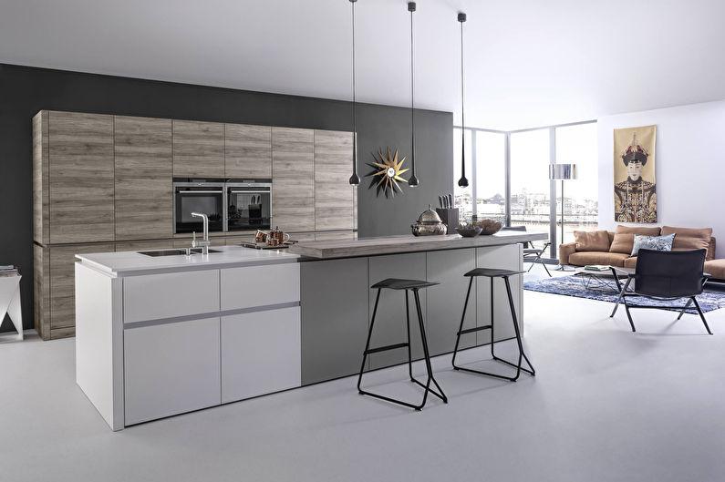 Серая кухня - Дизайн интерьера