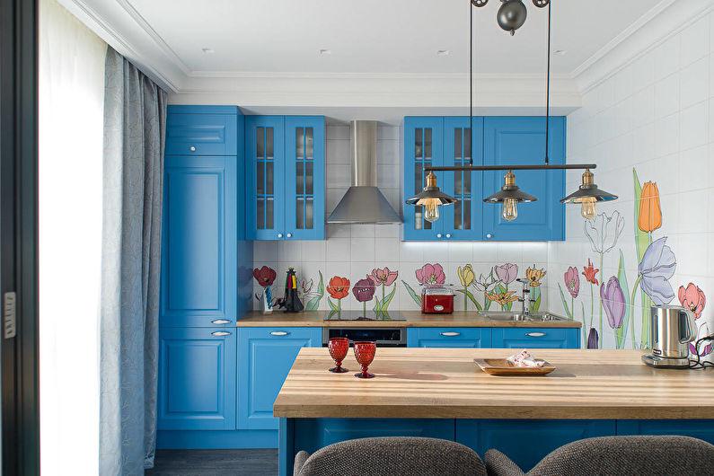 Синяя кухня - Дизайн интерьера