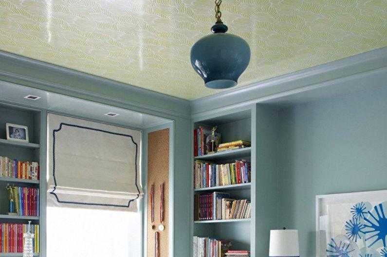 Натяжные потолки с рисунками в спальне